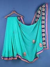 Blue Chiffon Zari Bordered Saree - Suchi Fashion