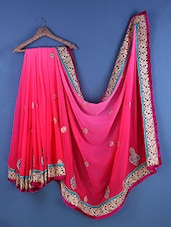 Pink Chiffon Paisley Embroidered Saree - Suchi Fashion