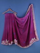 Purple Cotton Zari Embroidered Saree - Suchi Fashion