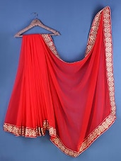 Red Chiffon Floral Embroidered Saree - Suchi Fashion