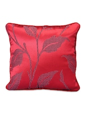 Red Leaf Print Square Cushion Covers (Set Of 5) - Desi Connection