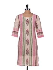 Vertical Patterns Kurta In Pink And Beige - Cotton Curio