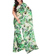 Cream And Green Floral Print Saree - Ambaji