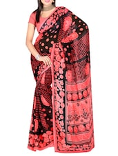 Pink And Black Printed Dani Georgette Saree - Ambaji