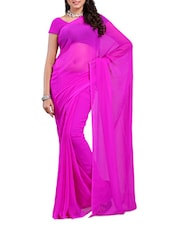 Solid Pink Georgette Saree - Ambaji