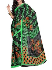 Black & Green Floral Printed Georgette Saree - Ambaji