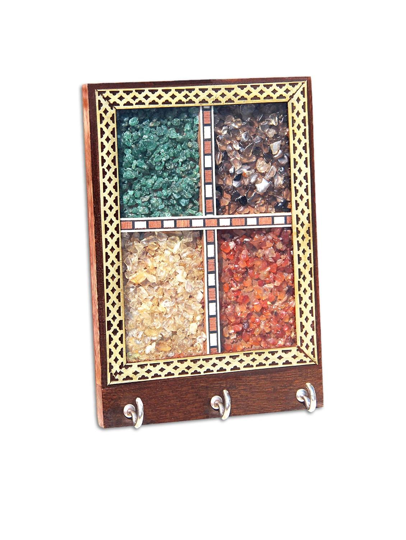 Buy Handicrafts Paradise Gemstone Shisham Brass Key Holder Pssw