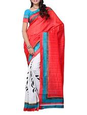 Red And White Printed Bhagalpuri Silk Saree - Ambaji