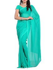 Blue Plain Georgette  Saree - Ambaji