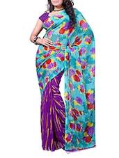 Purple & Blue Floral Printed Saree - Ambaji