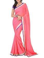 Pink Color Plain Chiffon Saree - Ambaji