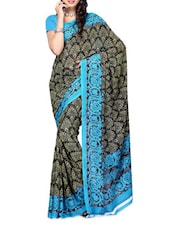 Floral Border Blue & Black Printed Georgette Saree - Ambaji