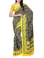 Floral Border Yellow & Black Printed Georgette Saree - Ambaji