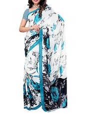 Blue Flower Printed Georgette Saree - Ambaji