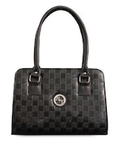 Black Check Patterned Handbag - Black & Yellow