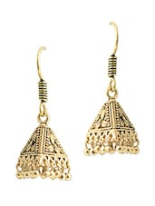 Pyramid Shaped Gold Tone Earrings - Hopping Street