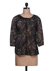 Black Paisley Print Smocking Top - Trend 18