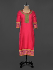 Pink Cotton Round Neck Kurti - Indidori