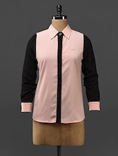 Color Block Poly-crepe Shirt - Stykin