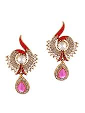 American Diamond Studded Pink Earrings - Luxor