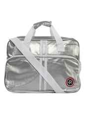Shiny Silvery Striped Travel Bag - KIARA