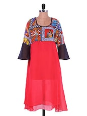 Red Printed Georgette Kurti - Admyrin