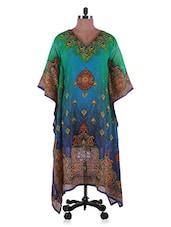 Green And Blue Georgette Kurti - Admyrin