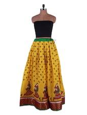 Ethnic Printed Mustard Yellow Cotton Long Skirt - Admyrin