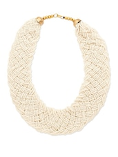 Pearl Beaded Woven Necklace - Voylla