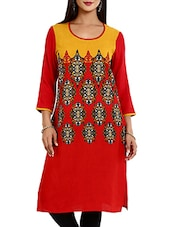 Red,yellow Rayon Regular Kurta - By