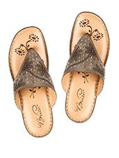 Brown Crystal Embellished Strap Sandals - La Briza