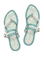 Light Blue & White Thin Straps Sandal - La Briza