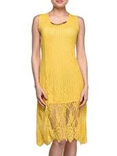 Yellow Net Lace Midi Dress - London Off