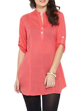 Red Cotton Button-Up Sleeves Tunic - Victor Brown
