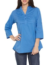 Blue Pintuck Yoke Button-Up Sleeves Tunic - Victor Brown