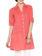 Coral Red Button-Up Sleeves Cotton Tunic - Victor Brown