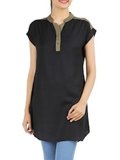 Black -Olive Cotton Viscose Color Block  Tunic - Victor Brown