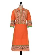 Printed Orange Kurta With Mirror Work - Inara Robes