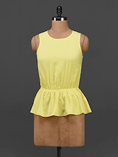 Yellow Sleeveless Peplum Top - By