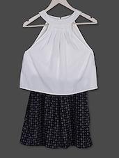White & Blue Printed Crepe Dress - Ridress