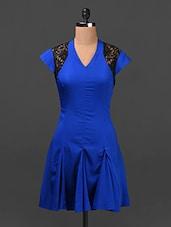 Electric Blue Lace Yoke Crepe Skater Dress - Ridress