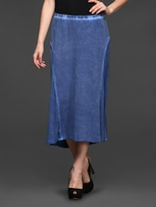 Blue Midi Viscose Skirt - Studio West