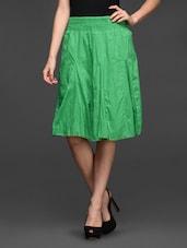 Cotton Elastic Waist Knee Length Skirt - Studio West