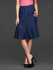 Denim Blue Cotton Tulip Skirt - Studio West