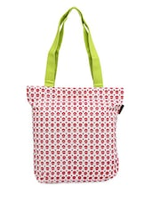White-Red Floral Print Canvas Tote Bag - ORANGEHEART