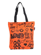 Black & Black Love Print Tote Bag - ORANGEHEART