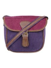 Color Block  Corduroy Sling Bag - ORANGEHEART