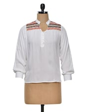 Embroidered Front Yoke Cotton Top - Colbrii