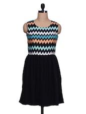 Black Polyester Chevron Printed Dress - Colbrii