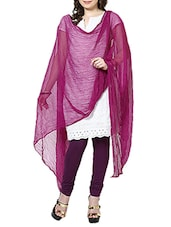Wine Chiffon Plain  Dupatta - By